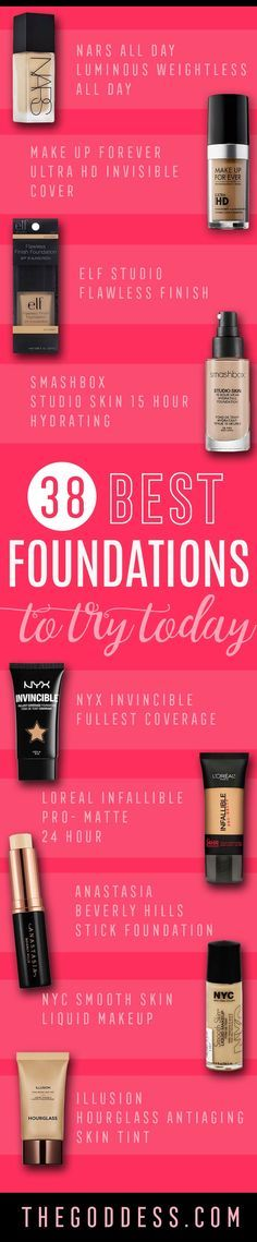 Best Foundations To Try Today - Cool New Foundation Brands and Reviews - These Are The Best Foundations For Oily Skin, Drugstore Dupes and Cheap Knockoffs, High End Designer Brands. Full Coverage, 24 Hour Long Lasting, Hydrating, Antiaging and Wrinkle Reducing Formulas - Sephora Makeup, Smashbox, NYC, NYX, ELF, Makeup Forever and More. Summer And Winter, And Can Help You Achieve A Matte Look, Or Help Cover Up Acne Scars. We Make Sure They Are Long Lasting and Can Be Found At The Drug Store…