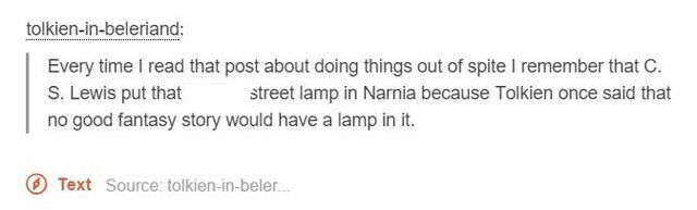 "This is literally the best thing ever. Like ""No Jack fantasy stories can't have lamps"" ""Oh yeah? BAM. Major plot point centered around a lamppost."