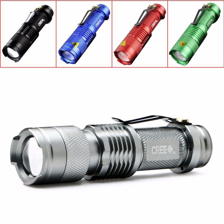 2017 nuevos 5 colores mini linterna 2000 lúmenes cree q5 led antorcha aa/14500 zoom ajustable del foco de la antorcha de la lámpara penlight