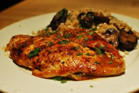 cider-glazed chicken with browned butter-walnut rice | yummy in my ...