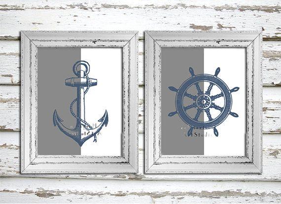 Nautical Art print - Navy blue and Grey - Modern print - Retro art - Beach house decor - boat anchor - Ships wheel - Nursery wall decor