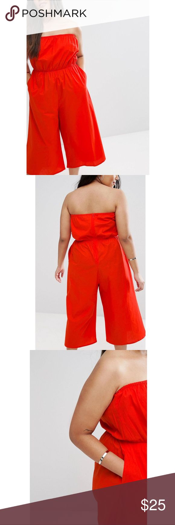 ASOS Curve Bandeau Jumpsuit in Cotton Light, airy, and comfortable. Has pockets! ASOS Curve Pants Jumpsuits & Rompers
