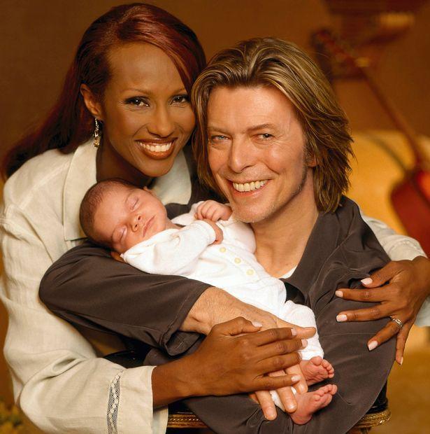 "CAMERA PRESS David Bowie. David Bowie with wife Somalian supermodel Iman and daughter Alexandria Zahra Jones. """