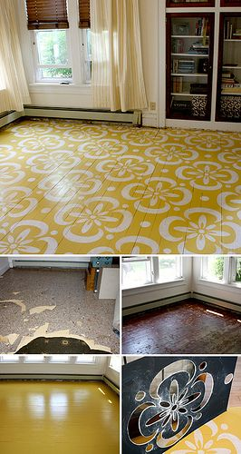 Fill in any large gouges or scrapes, and sand the entire floor lightly.  Use nearly any paint on the floor, but if you're concerned about it rubbing off with traffic, talk to the people in the paint store/department.  you can also get clear acrylic sealer to paint over the floor once it's dried and cured, it'll protect the paint job.