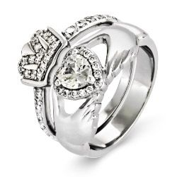Sterling Silver CZ Claddagh Engagement Ring Set, $48 #claddaghring #czengagementring #weddingset