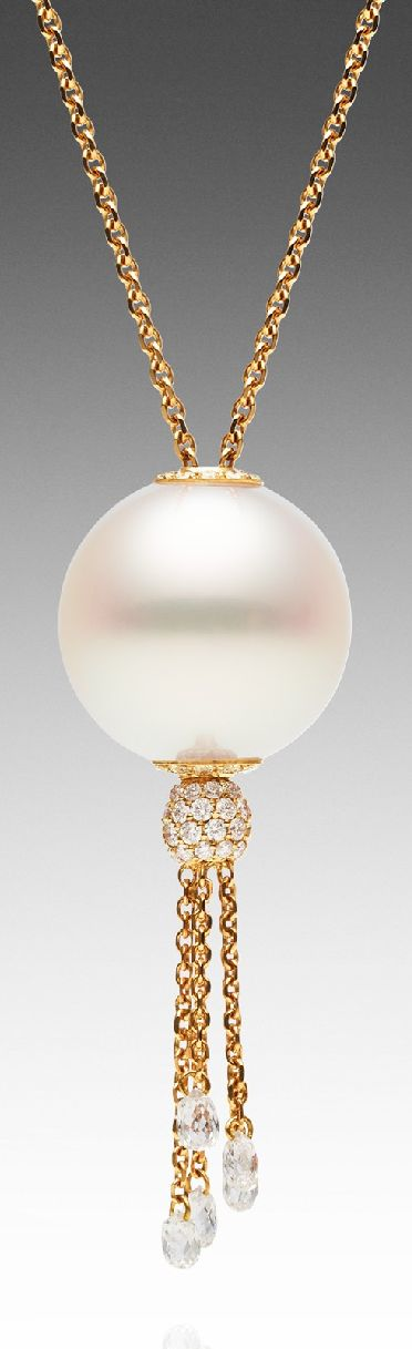 TOUCHSTONE DIAMOND TASSEL | Paspaley Australian South Sea pearl necklace