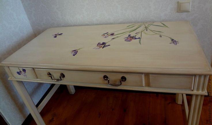 Купить Стол с ирисами - стол в стиле прованс, мебель в стиле ...