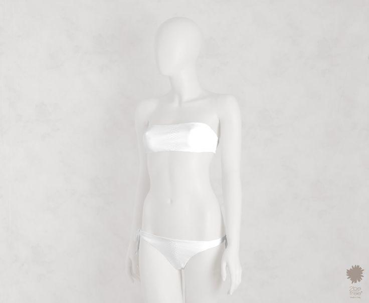 Wild Savannah White -  Bandeau bikini top in microfiber, python laminate reversible solid color. Bikini bottom with bows
