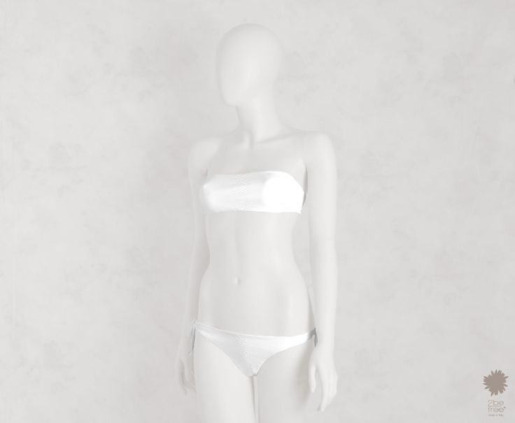 Wild Savannah White -  Bandeau bikini top in microfiber, python laminate reversible solid color. Bikini bottom with bows
