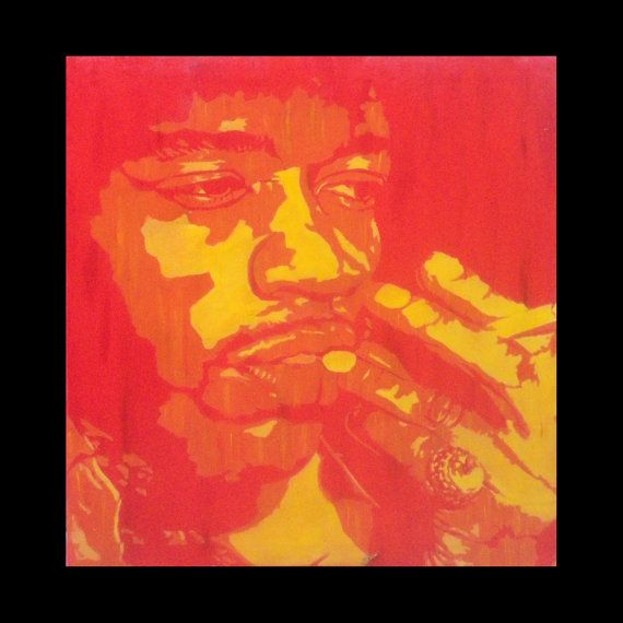 Jimi Hendrix smoking Red declination by Fü  71x79cm   par FuStencil, €380.00