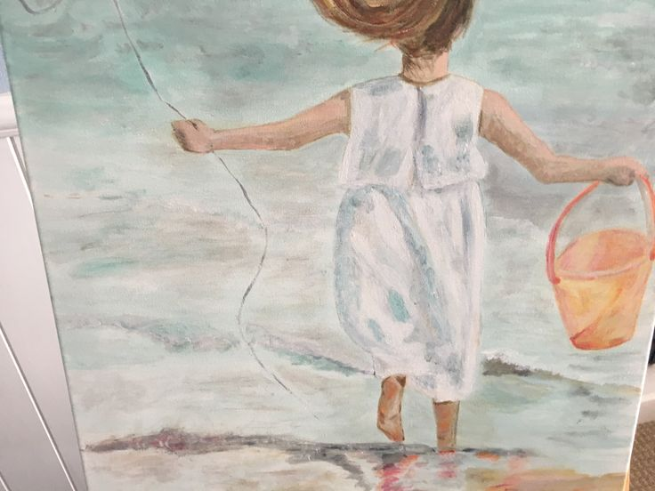 Painting of  girl at beach - nearly finished