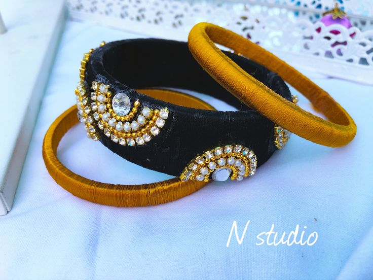 Silkthread bangle black and gold check out Nstudio for more collection