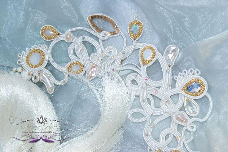 Metamorphosis Collection 2015 - Details #aronaharyo #beadartist #beadart #artdeco #beading #fairie #fairies #love #handmade #hautecouture #holidaygifts #gifts #soutacheaccesories #embroidery #wearableart