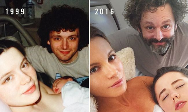 Kate Beckinsale recreates birth photo with Michael Sheen and daughter Lily
