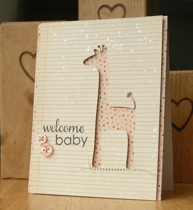 Handmade New Baby Girl Greetings Card - You have no idea, I flipping love giraffes.