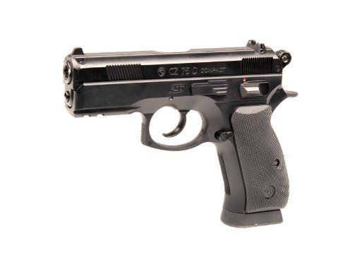 ASG Licensed CZ 75D Compact CO2 .177 BB Air Pistol - Black - http://www.airrifleforsale.com/air-pistols/asg-licensed-cz-75d-compact-co2-177-bb-air-pistol-black/ - The semi automatic 4.5mm(.177) CZ 75D Compact air pistol has authentic CZ markings and unique serial number. The front weaver rails give you the opportunity to mount a laser or flashlight. The rear sight is adjustable to secure better accuracy. The magazine holds 17 BB?s and also stores the 12g CO2 cartridges. The p