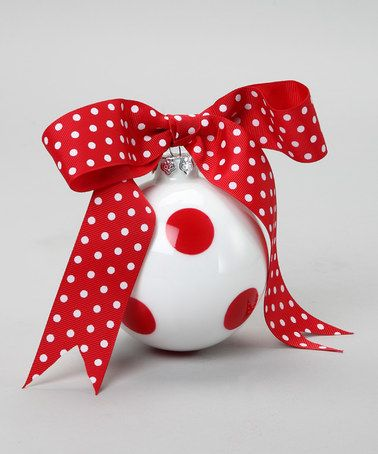 Take a look at this Red Dot Ribbon Ornament by Dennis East International on #zulily today!