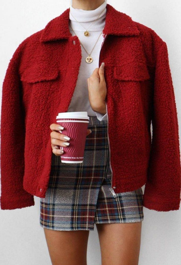 winter fashion trends / red jacket + top + plaid skirt