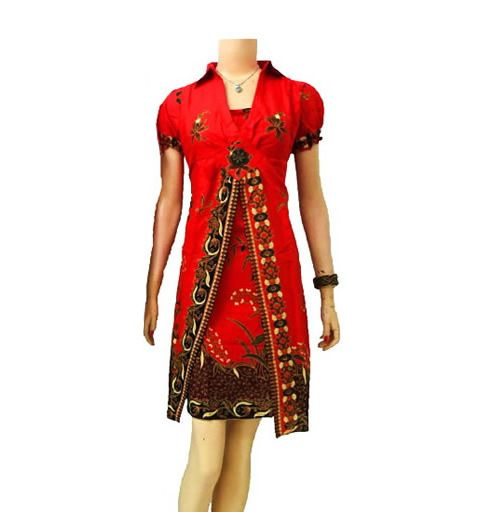 dress batik solo modern cantik warna merah