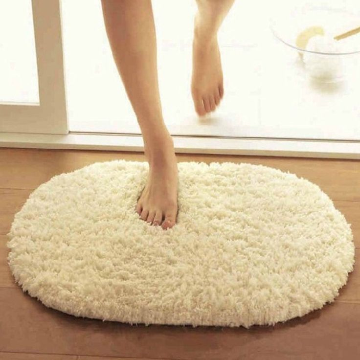 Solid Short Shaggy Floor Mat Oval Ellipse Polyester Door Mat Living Room Bedroom Coffee Rugs Anti-slip Indoor Outdoor Doormats