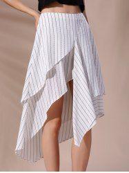 Moda de talle alto de rayas falda asimétrica para las mujeres - BLANCO