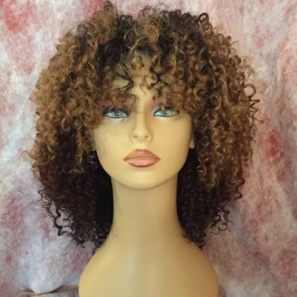 NEW Ombre curly SYNTHETIC Afro wig-Super Cute TYPE: HALF WIG-NEW -STYLE: CURLY WITH BANG -COMB LOCATION: FRONT AND BACK  -ADJUSTABLE STRAP: YES -DRAWSTRING: NO -HEAT RESISTANT UP TO 360 -SUPER VOLUME  -SUPER STYLE.   wig was described as half wig but I took the picture shown on white mannequin. as you can see the wig so that hair is away from your face are in your face depending on the size of your head. I have to sell it I love it and I have to sell it because my head is a little big and I…