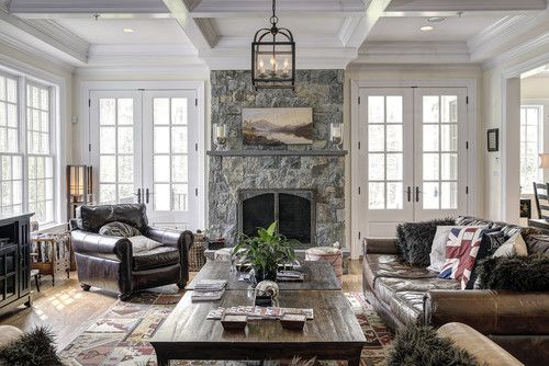 I like the layout of this room with the fire placed against the far wall and French doors on either side.