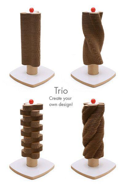 Trio Red Scratch Tower - Modern Cardboard Cat Scratching Tower. $95.00, via Etsy.