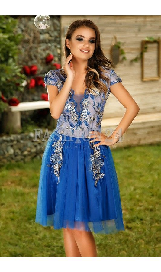 Rochie Haile Blue -  Rochie eleganta de ocazie, cu fusta in clos, in nuante delicate de albastru, cu insertii din broderie florala, manecile scurte, deoclteul rotund si inchide prin fermoar in partea din spate, fabricata in Romania.  culoare: Albastru   rochie eleganta de ocazie, rochie de seara   cu fusta in clos   de