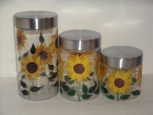 sunflower kitchen | Details about NEW 3PC SUNFLOWER CANISTER SET Glass Kitchen Canisters