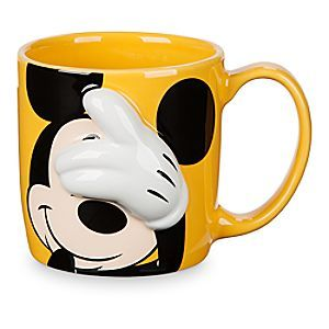 Mickey Mouse Dimensional Mug   Disney Store Wake up, open your eyes and grab a jolt of java served up hot and sunny in this Mickey Mouse mug featuring Mickey's raised, dimensional, white-gloved hand.