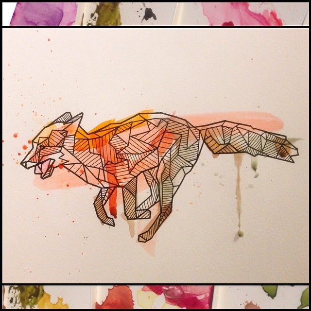 geometric fox AND watercolour