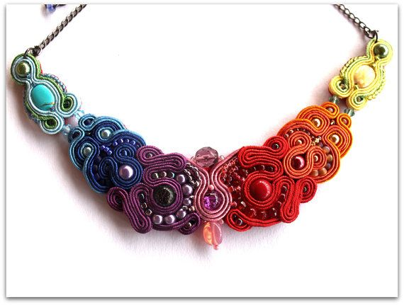 delicate RAINBOW kolia made of soutache от ArtGalleryButterfly