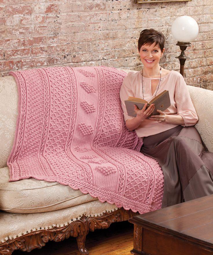 Aran Hearts Throw Free Crochet Pattern from Red Heart Yarns