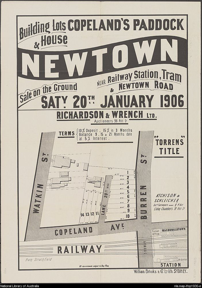 Richardson & Wrench. Building lots & house, Copeland's Paddock, Newtown : near railway station, tram & Newtown Road. 1906. National Library of Australia: http://nla.gov.au/nla.map-lfsp1930