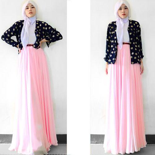 baby pink long skirt - Street Hijab Fashion