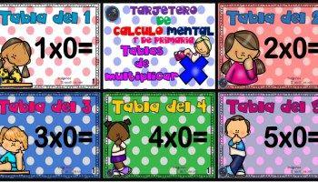 Tarjetero para practicar el cálculo mental en Primaria Tablas de multiplicar 1 al 5