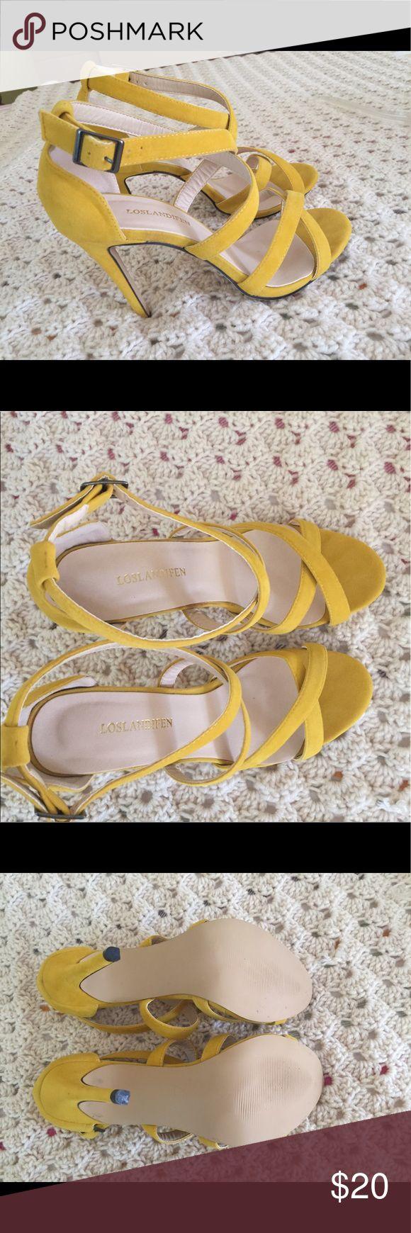 Yellow Strappy Faux Velvet heels Yellow strappy heels, very minimal wear, faux velvet and very cute. Loslandifen Shoes Heels