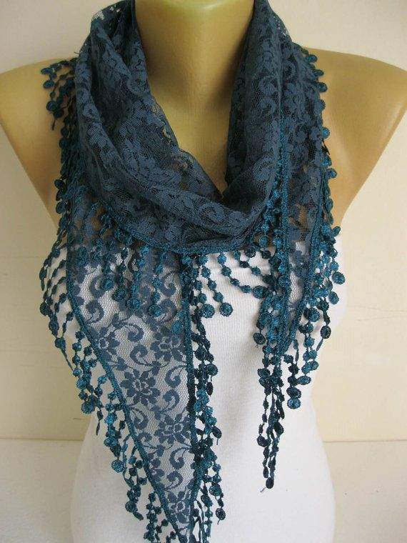 Lace Scarf with trim Scarves-gift Ideas For Her by SmyrnaShop
