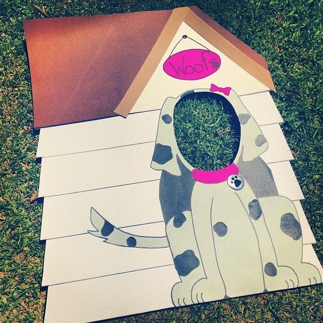 Doghouse photo prop at a Puppy Dogs Birthday Party!  See more party ideas at CatchMyParty.com!