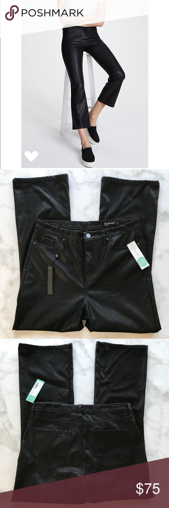 Blank NYC vegan leather kick flare cropped jeans Blank NYC black vegan leather kick flare cropped jeans. Size 30. Please refer to measurement pictures in addition to brand sizing for most accurate fit.  Faux-leather Blank Denim pants in a slightly flared profile .5-pocket styling. Button closure and zip fly.  Fabric: Faux leather. 60% polyester/40% viscose Blank NYC Pants Ankle & Cropped