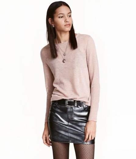 Check this out! Sweater in a light, fine, soft knit. Long sleeves, raw edges, and rounded hem. Slightly longer at back. - Visit hm.com to see more.