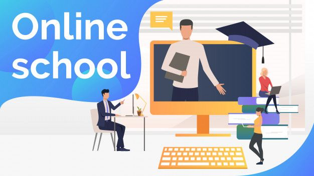 Download People Studying At Online School, Textbooks And Teacher for free |  Online school, Free online courses, Home based business