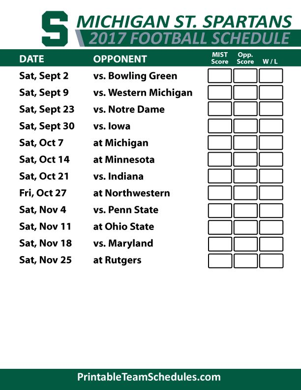 2017 Michigan State Spartans Football Schedule