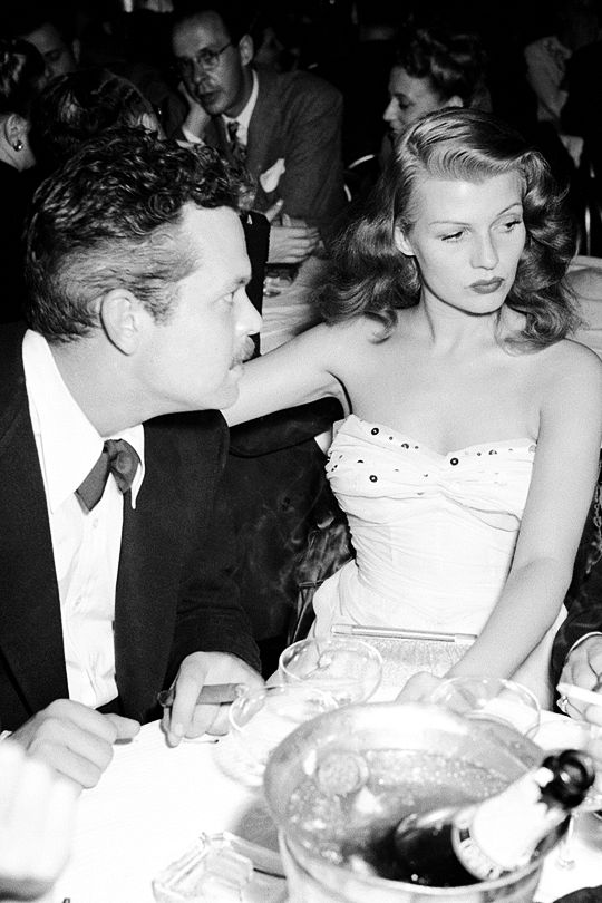 """theritahaywortharchive: """"""""Orson Welles and Rita Hayworth partying at the Mocambo in West Hollywood, 1945 """" """""""