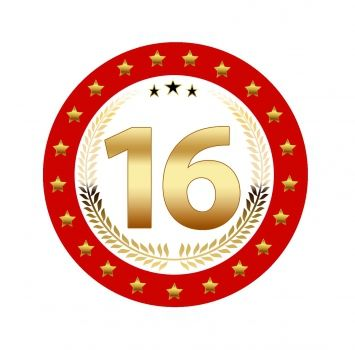 25 stuks Luxe Bierviltjes met 16 jaar opdruk. Rood met goudkleurige uitvoering en dubbelzijdig bedrukt.