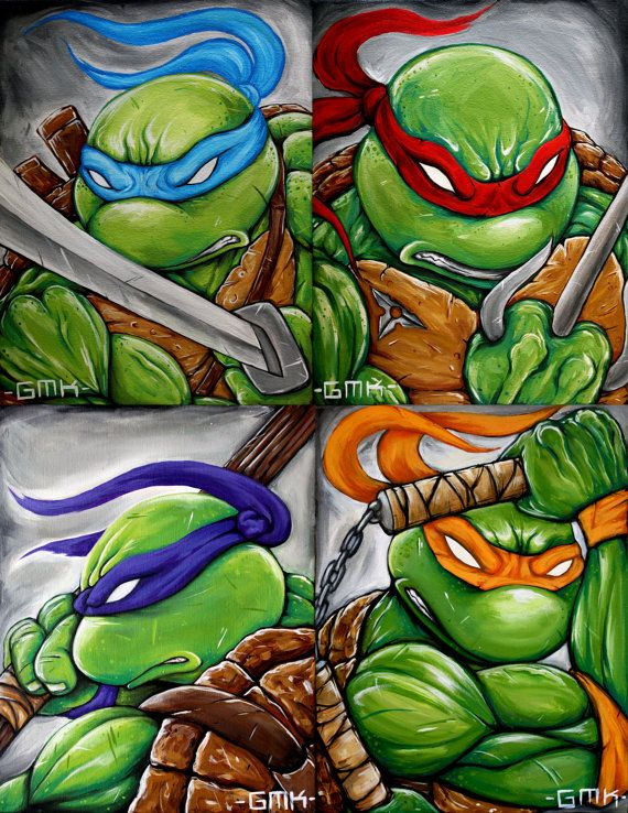 Teenage Mutant Ninja Turtles Leonardo Michaelangelo by GMONIKart, $15.00