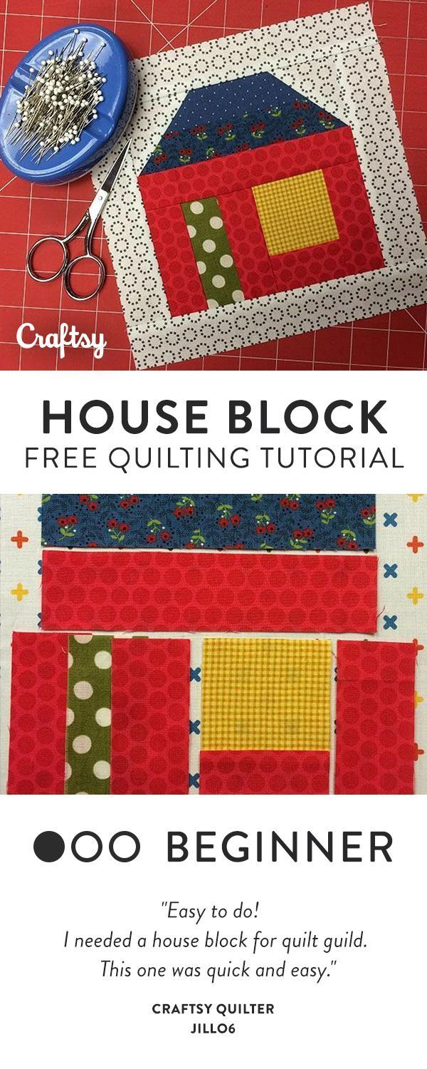 Put all those small scraps in your stash to good use with this adorable and FREE house quilt block BOM tutorial! - Beginner Pattern