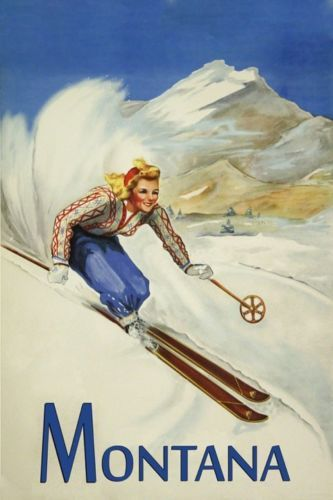 Ski-Montana-Vintage-Poster-of-Lady-Skiing-Sport-Reproduction-FREE-S-H