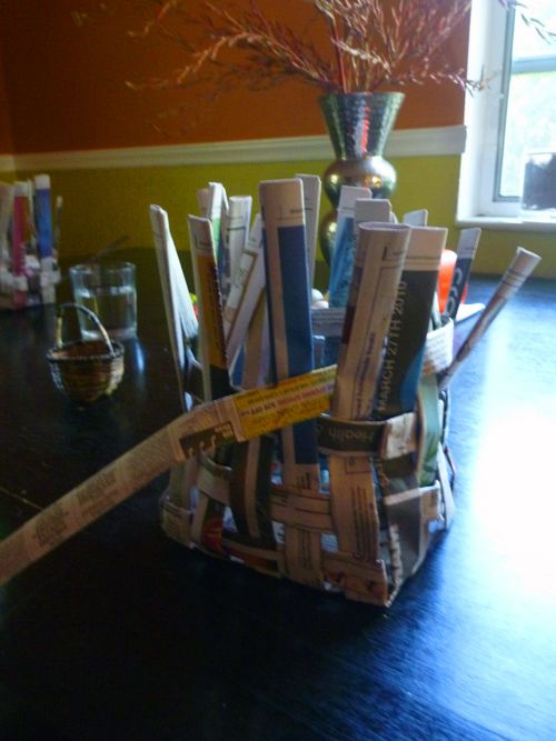 Webelos Craftsman Pin project idea.  Waste baskets woven out of folded newspaper